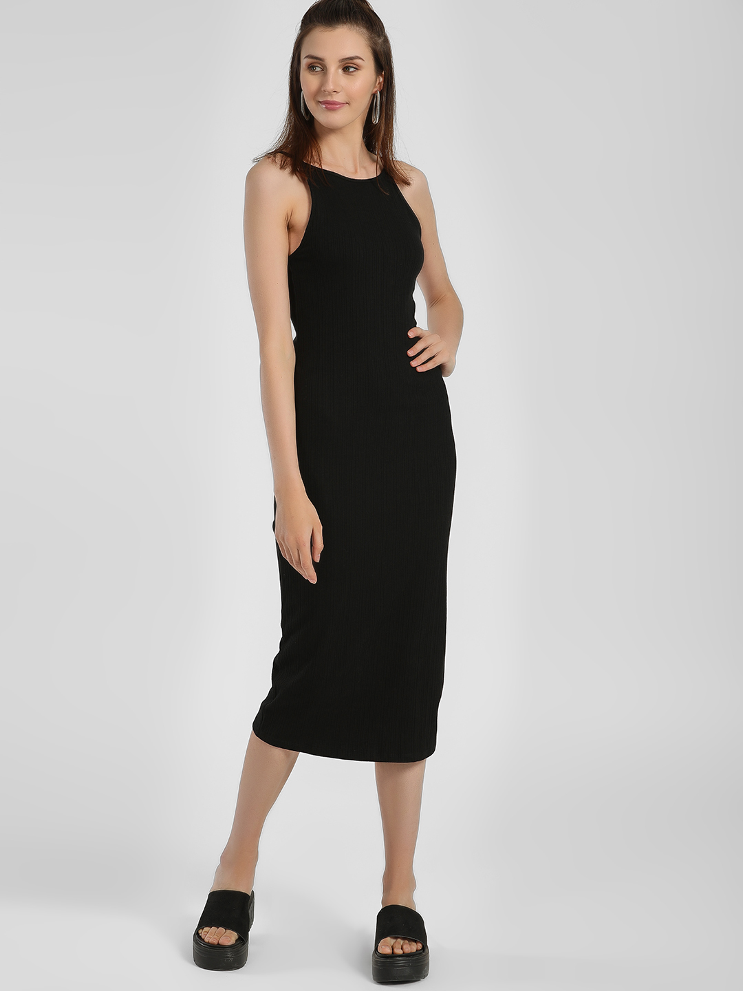 New Look Black Ribbed Strappy Bodycon Dress 1