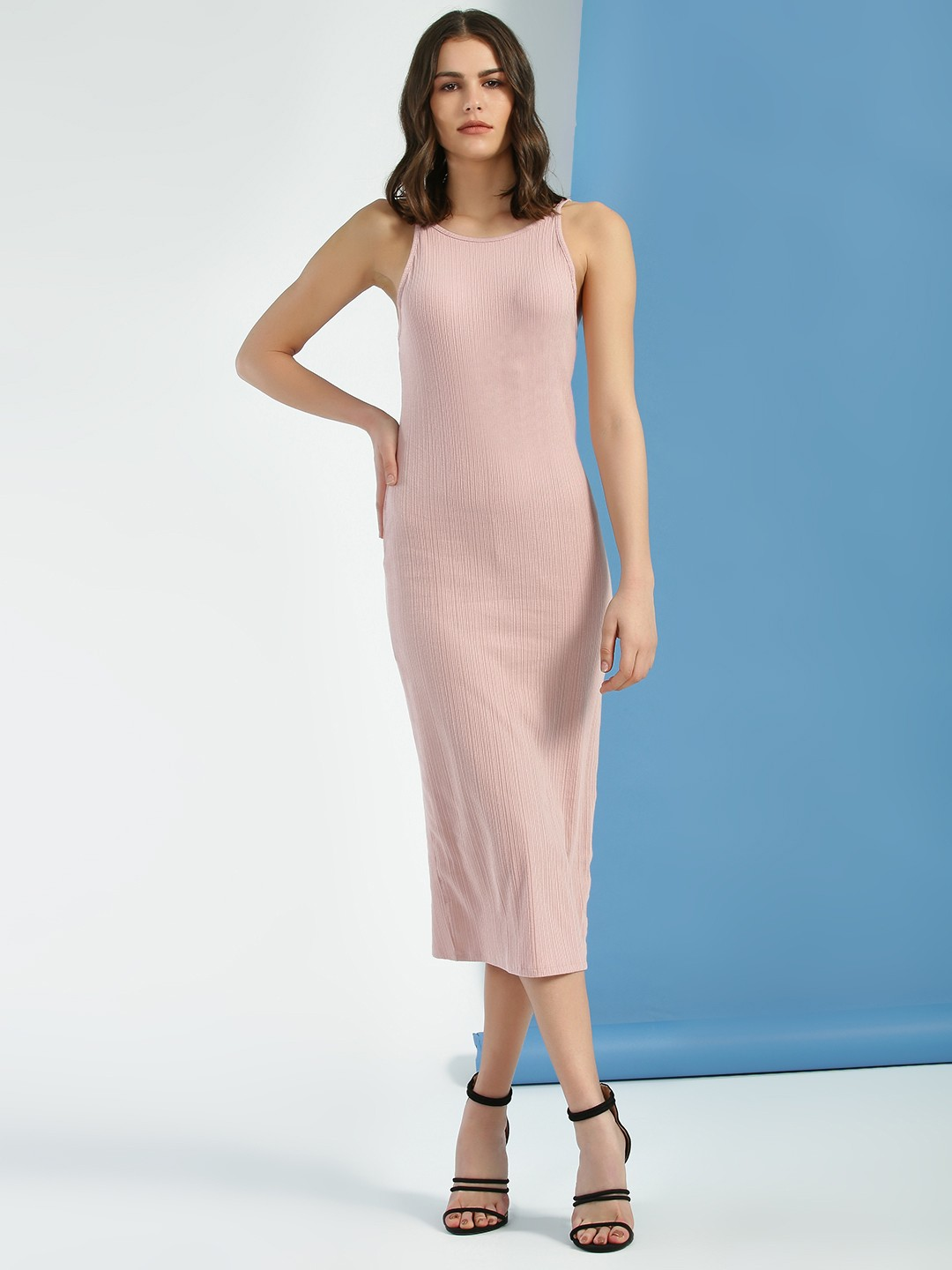 New Look Light Pink Ribbed Strappy Bodycon Dress 1