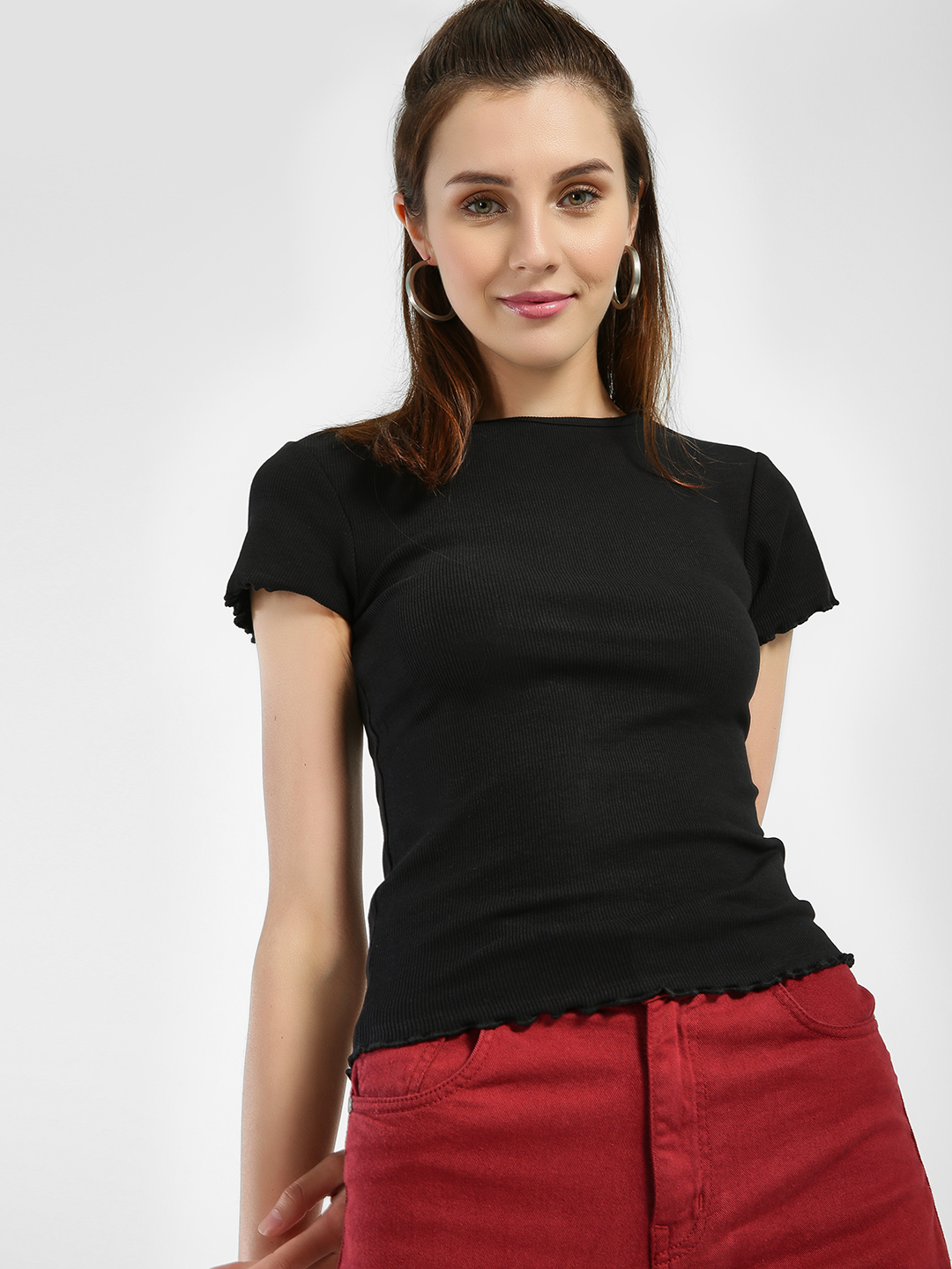 New Look Black Ribbed Frill Trim T-Shirt 1