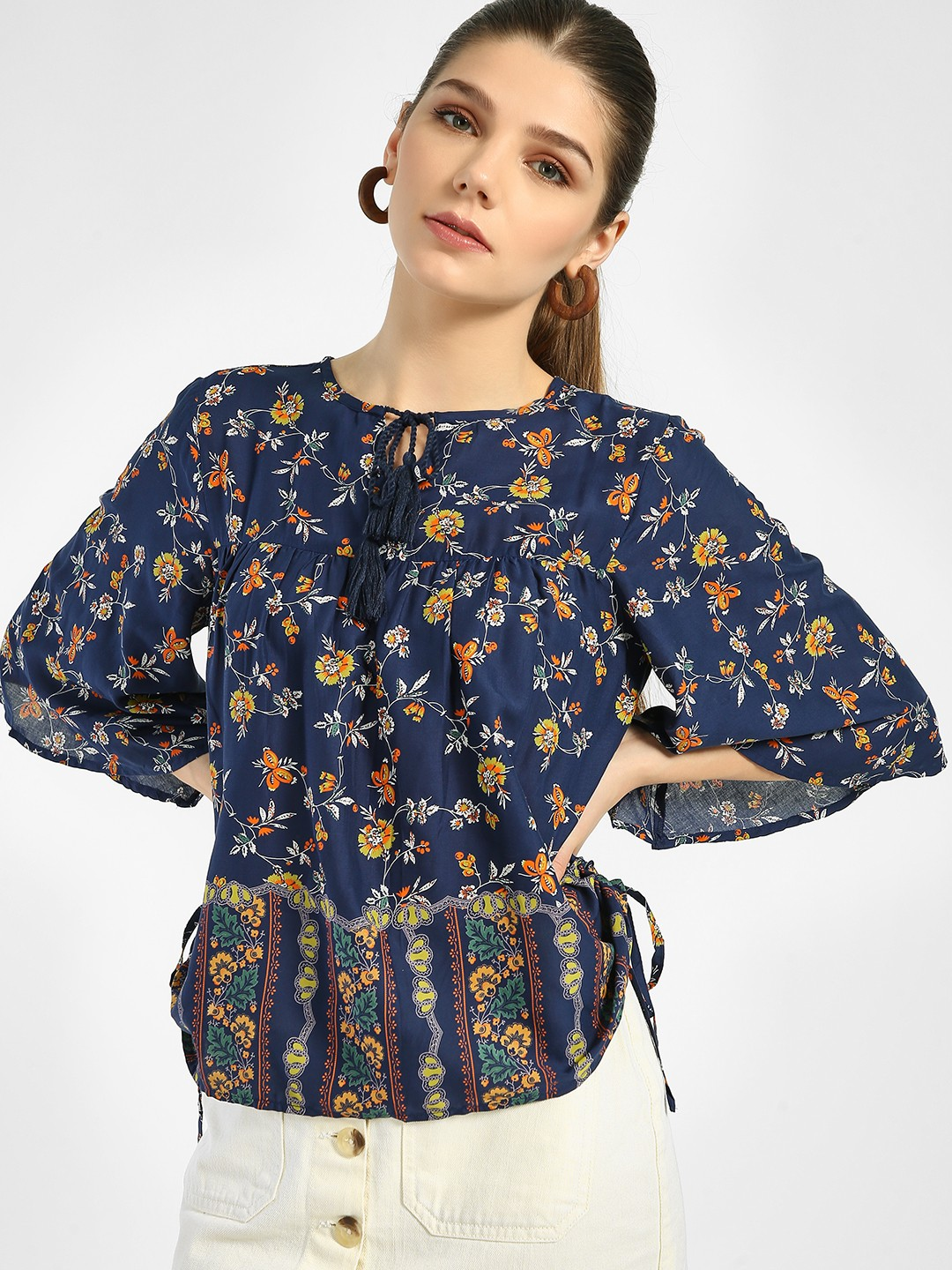 Lee Cooper Navy Blue Floral Print Peplum Blouse 1