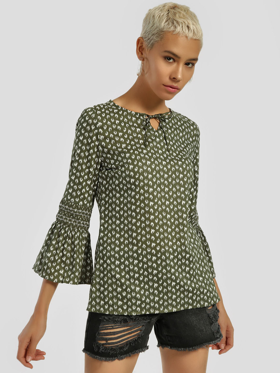 Lee Cooper Green All Over Print Blouse 1