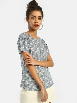 Lee Cooper Leaf Print Flared Sleeve Blouse