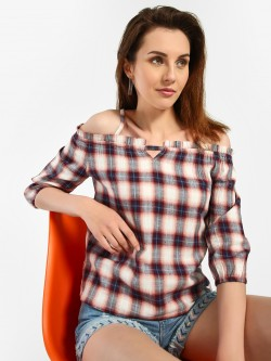 Lee Cooper Multi Check Cold Shoulder Blouse
