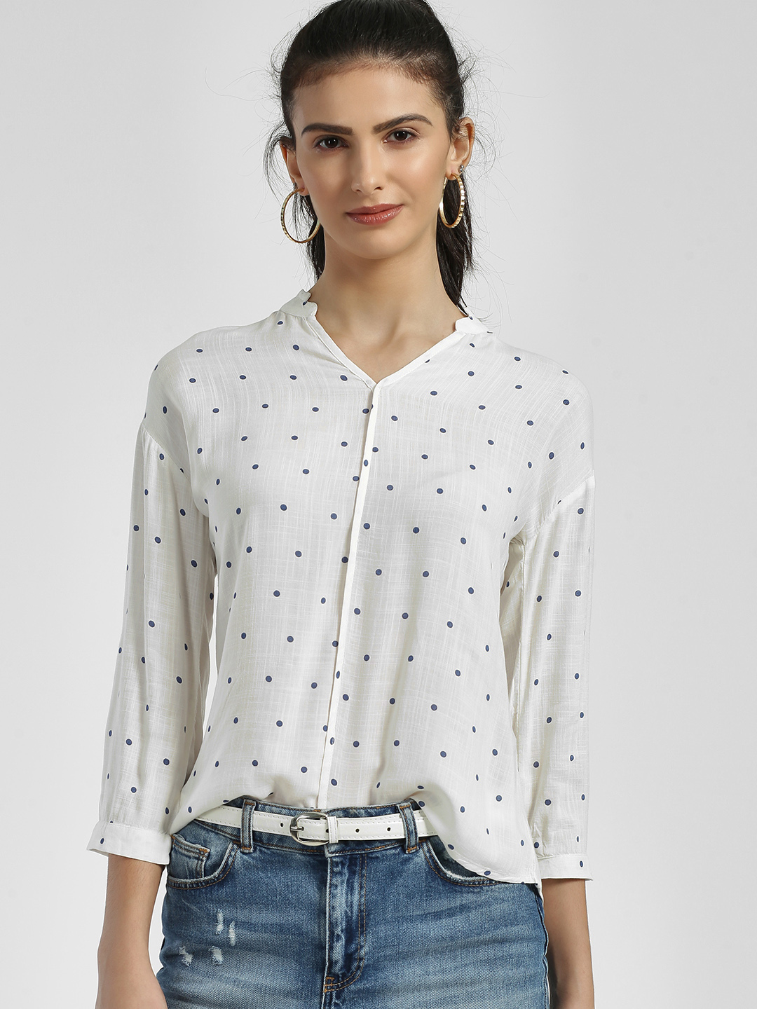 Lee Cooper White Polka Dot Mandarin Collar Blouse 1