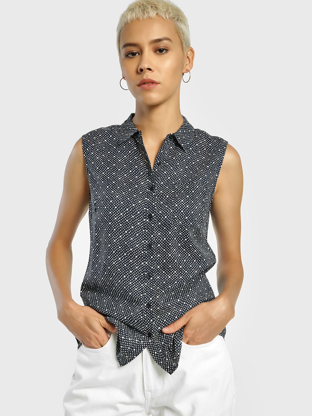 Lee Cooper Navy Blue Dot Print Sleeveless Shirt 1
