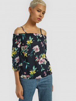 Lee Cooper Floral Print Cold Shoulder Blouse