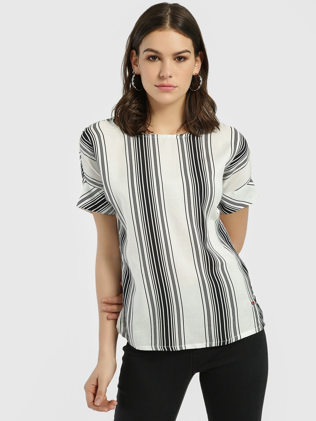 Lee Cooper Off White Vertical Stripe Blouse 1