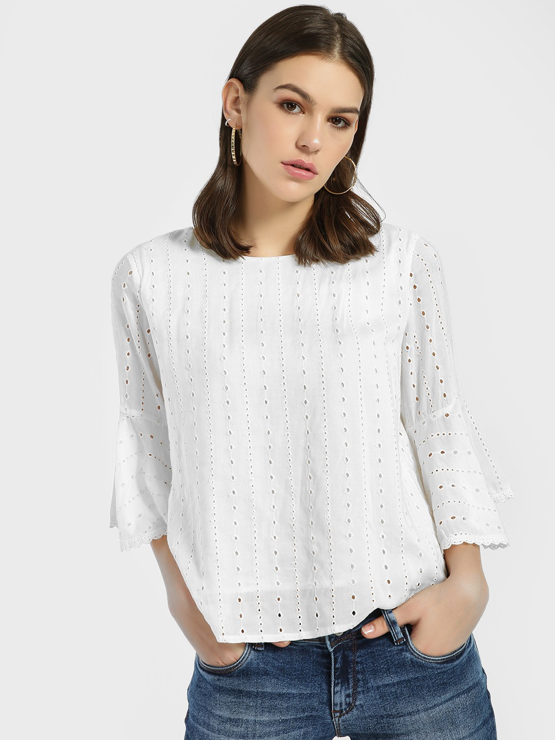 Lee Cooper White Broderie Lace Detail Blouse 1