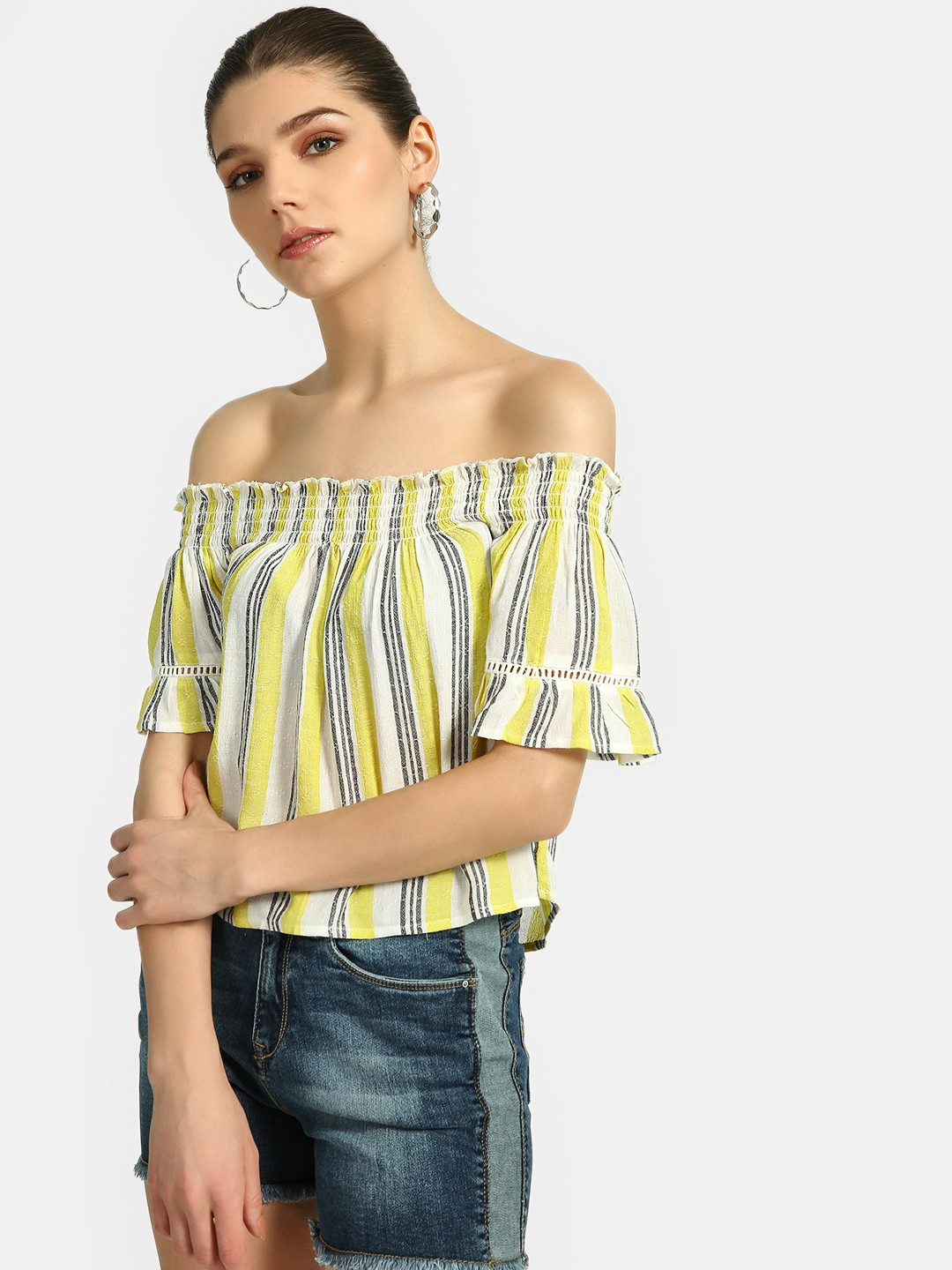 Lee Cooper Yellow Stripe Flared Off-Shoulder Top 1