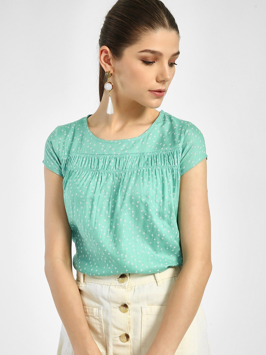 Lee Cooper Green Floral Print Round Neck Blouse 1