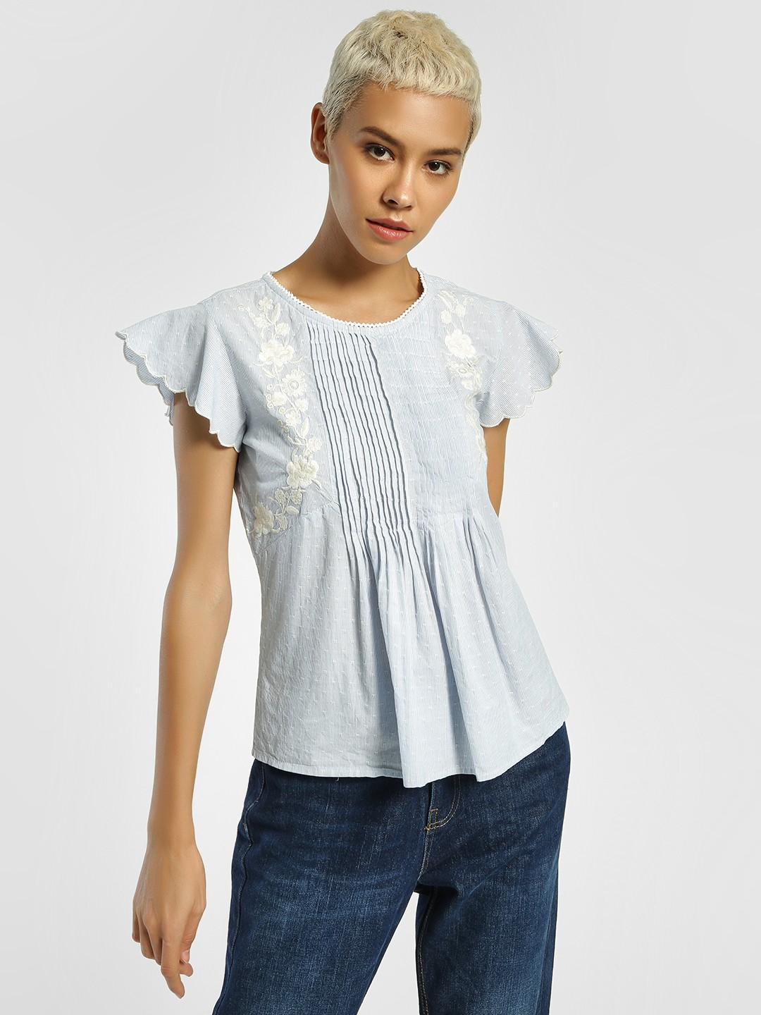 Lee Cooper Blue Floral Embroidered Stripe Blouse 1