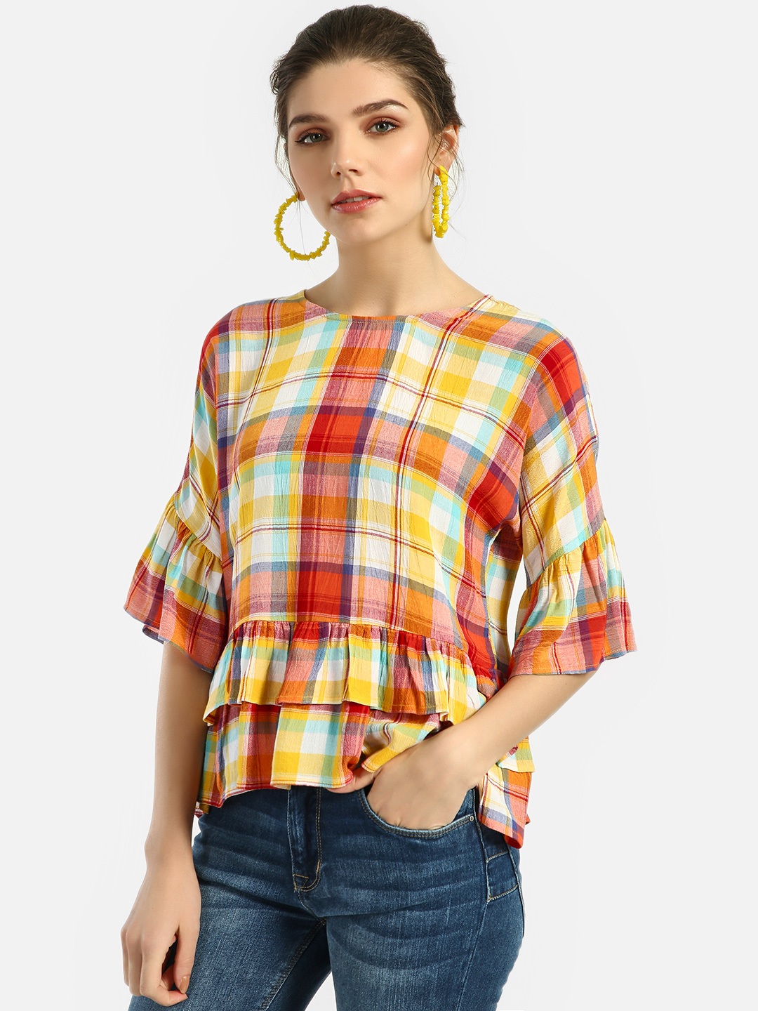 Lee Cooper Orange Yarn Dyed Madras Check Blouse 1