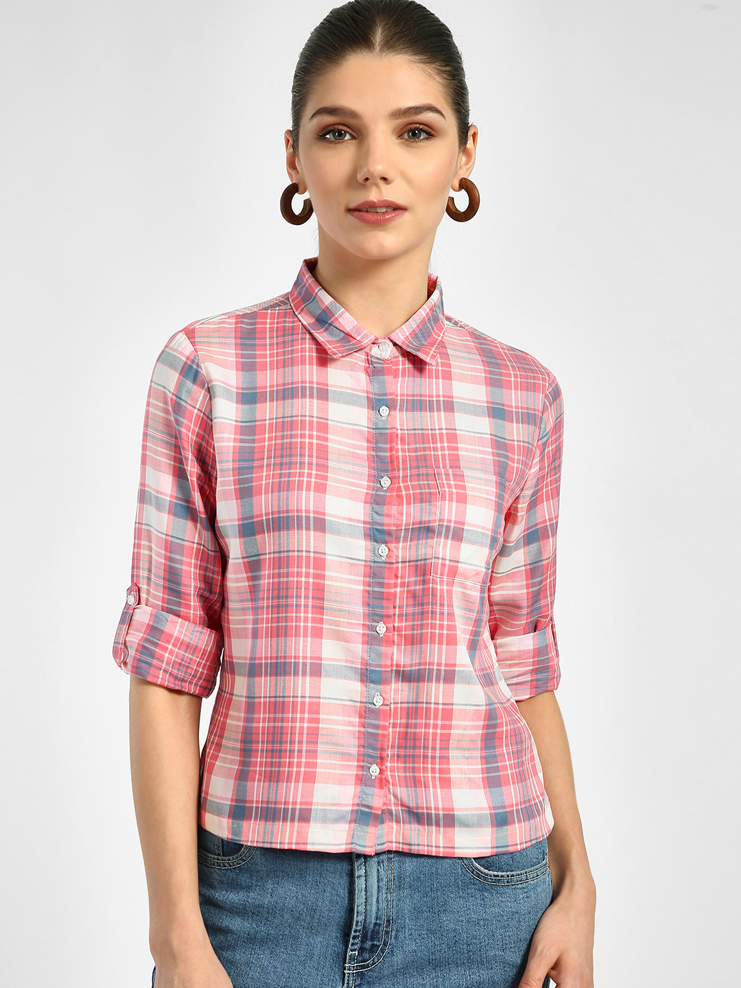 Lee Cooper Pink Checkered Roll-Up Sleeve Shirt 1