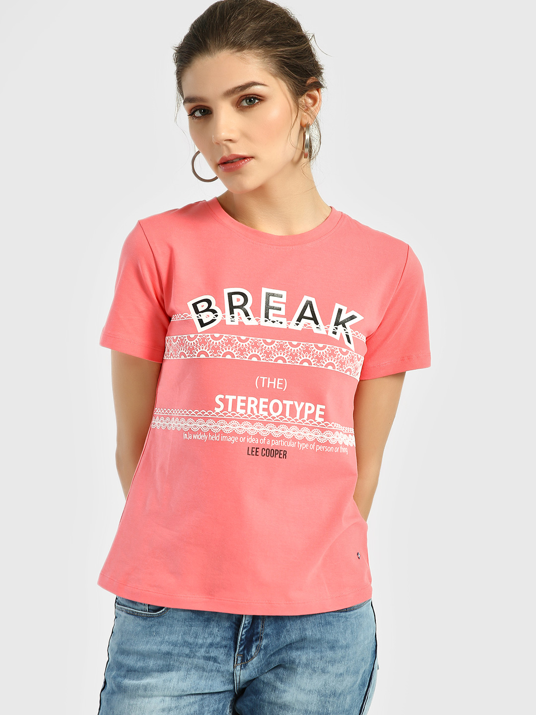 Lee Cooper Coral Slogan Placement Print T-Shirt 1