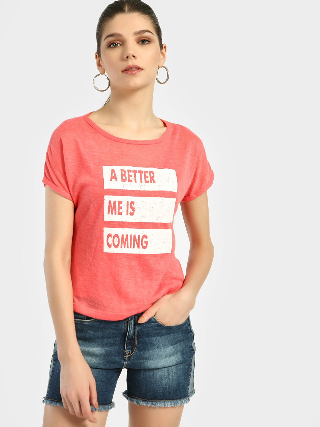 Lee Cooper Red Slogan Print Knitted T-Shirt 1