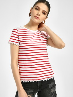 Lee Cooper Lace Detail Stripe T-Shirt