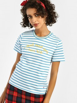 Lee Cooper Slogan Print Horizontal Stripe T-Shirt