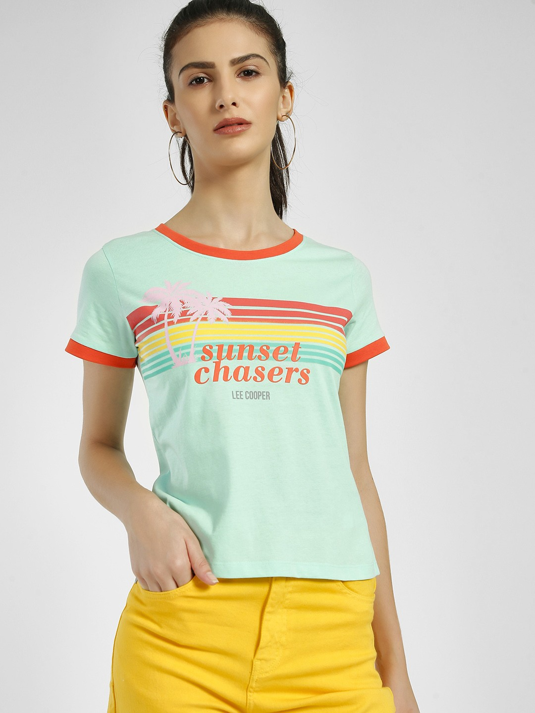 Lee Cooper Green Sunset Chasers Tropical Print T-Shirt 1
