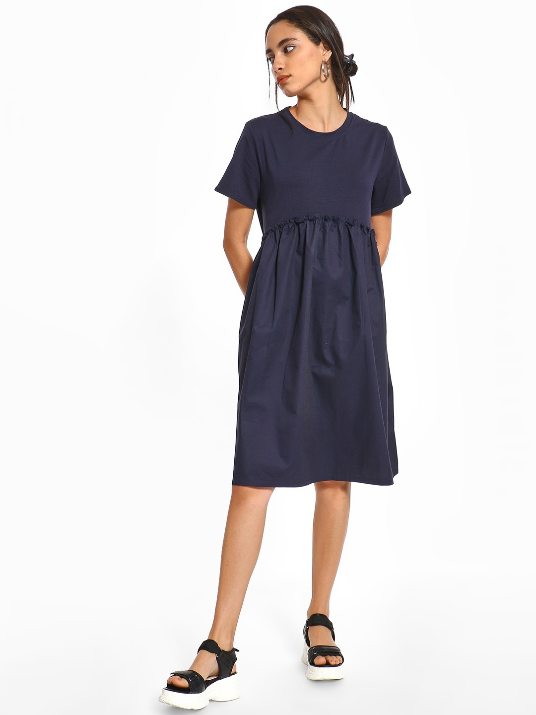 Origami Lily Indigo Twofer Ruffled Midi Dress 1