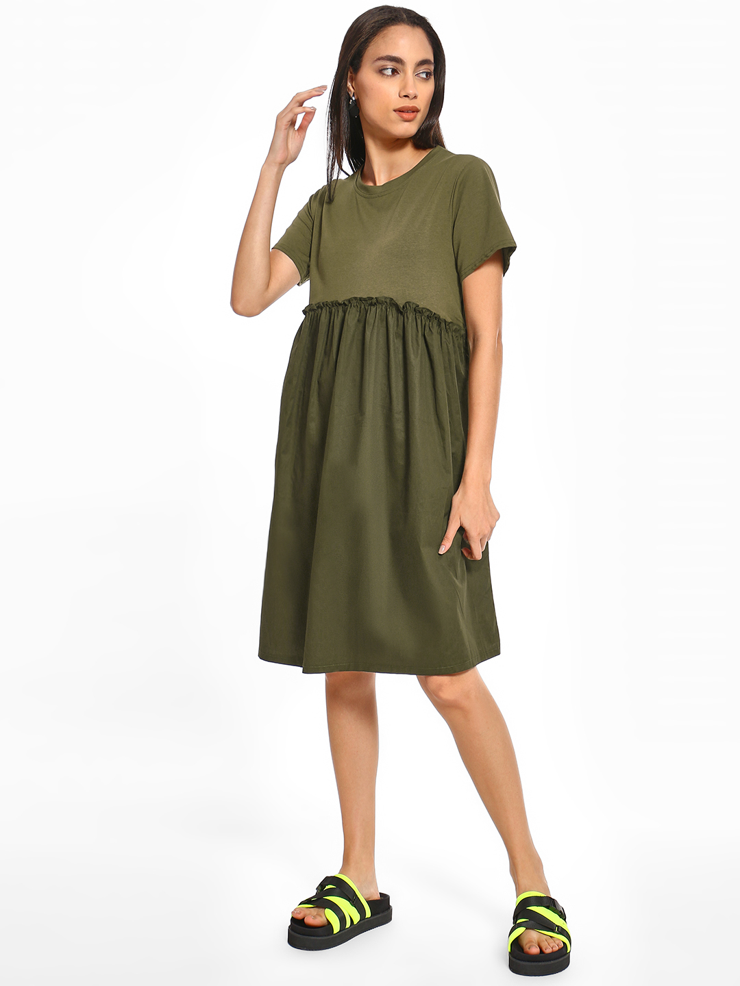 Origami Lily Green Twofer Ruffled Midi Dress 1