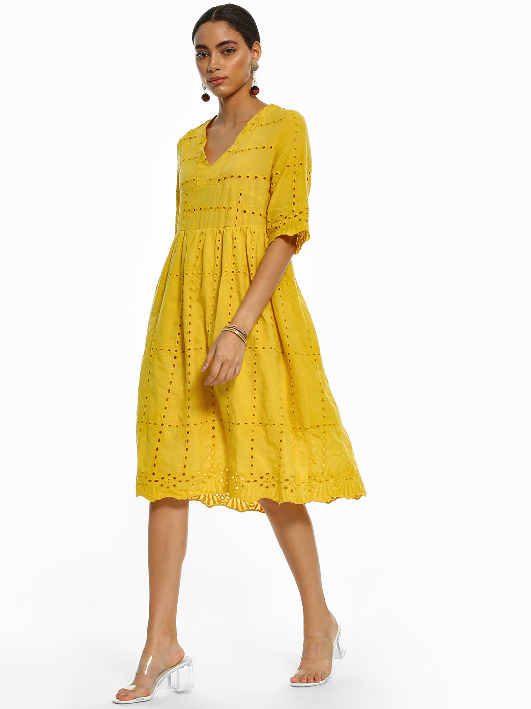 Origami Lily Yellow V-Neck Broderie Midi Dress 1