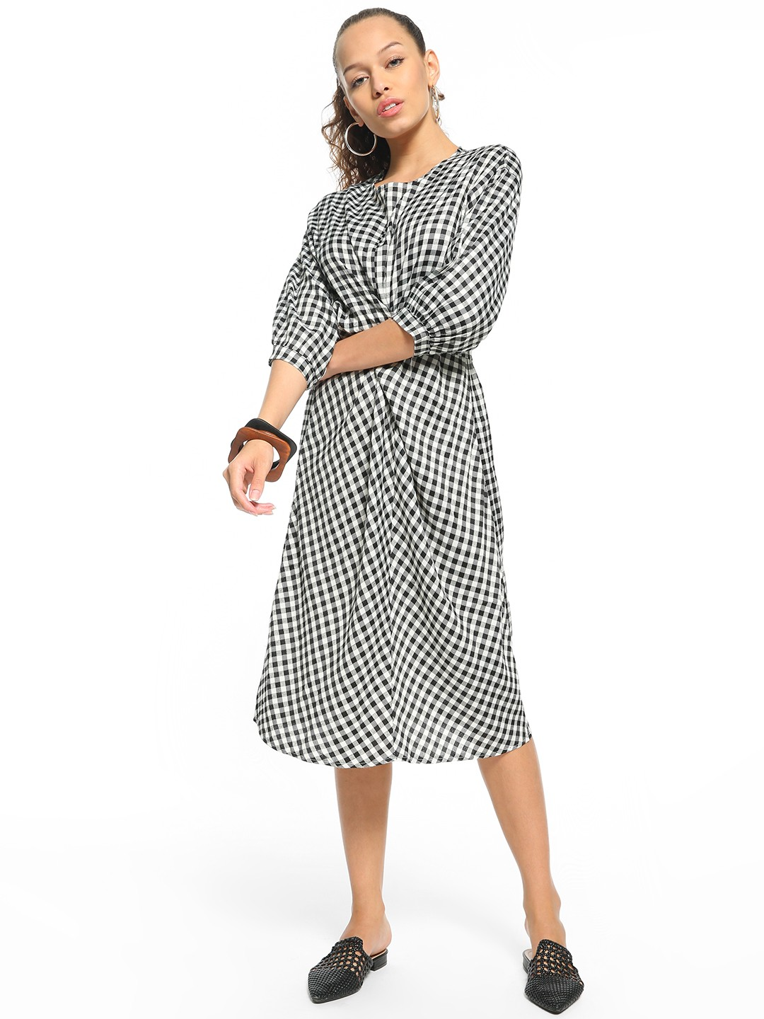Origami Lily Black Yarn Dyed Gingham Check Midi Dress 1
