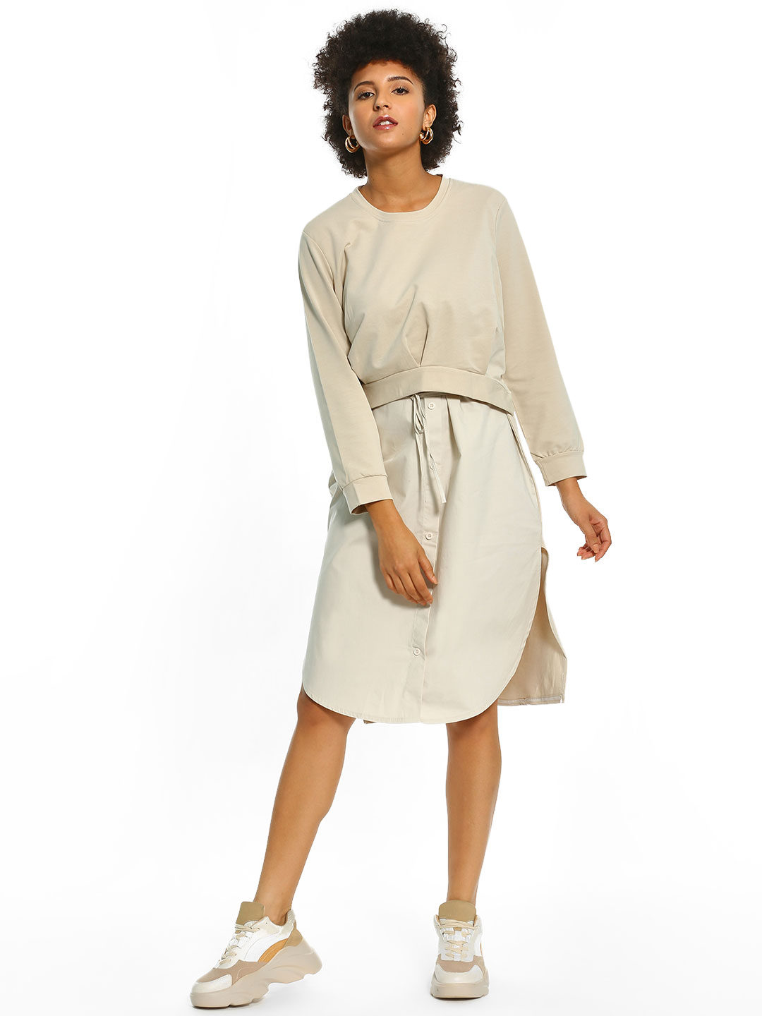 Origami Lily White Twofer Button-Down Midi Dress 1