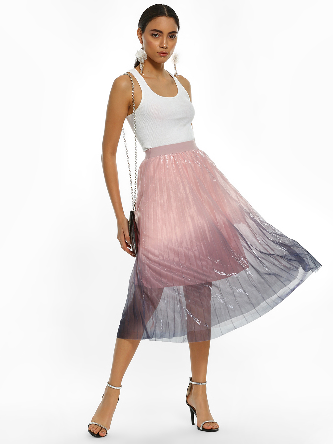Origami Lily Multi Ombre Shimmer Mesh Pleated Midi Skirt 1