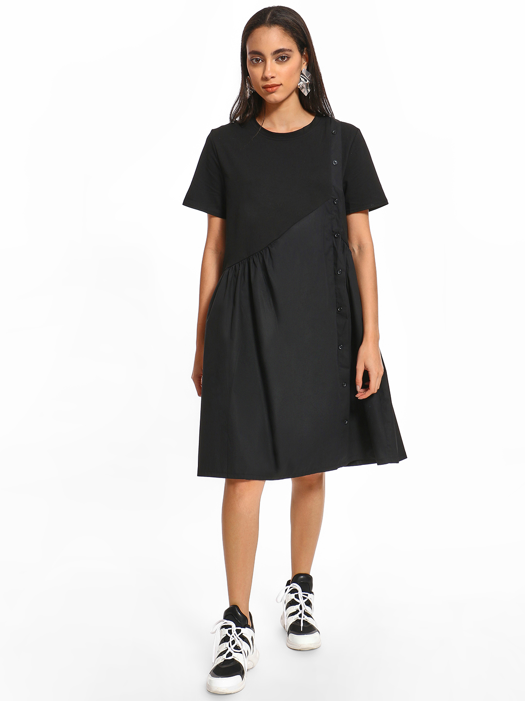 Origami Lily Black Button-Down Twofer Midi Dress 1