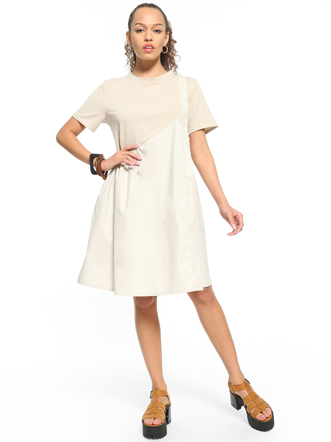 Origami Lily Grey Button-Down Twofer Midi Dress 1
