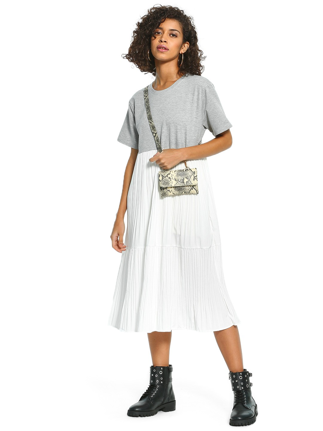 Origami Lily White Twofer Pleated Midi Dress 1