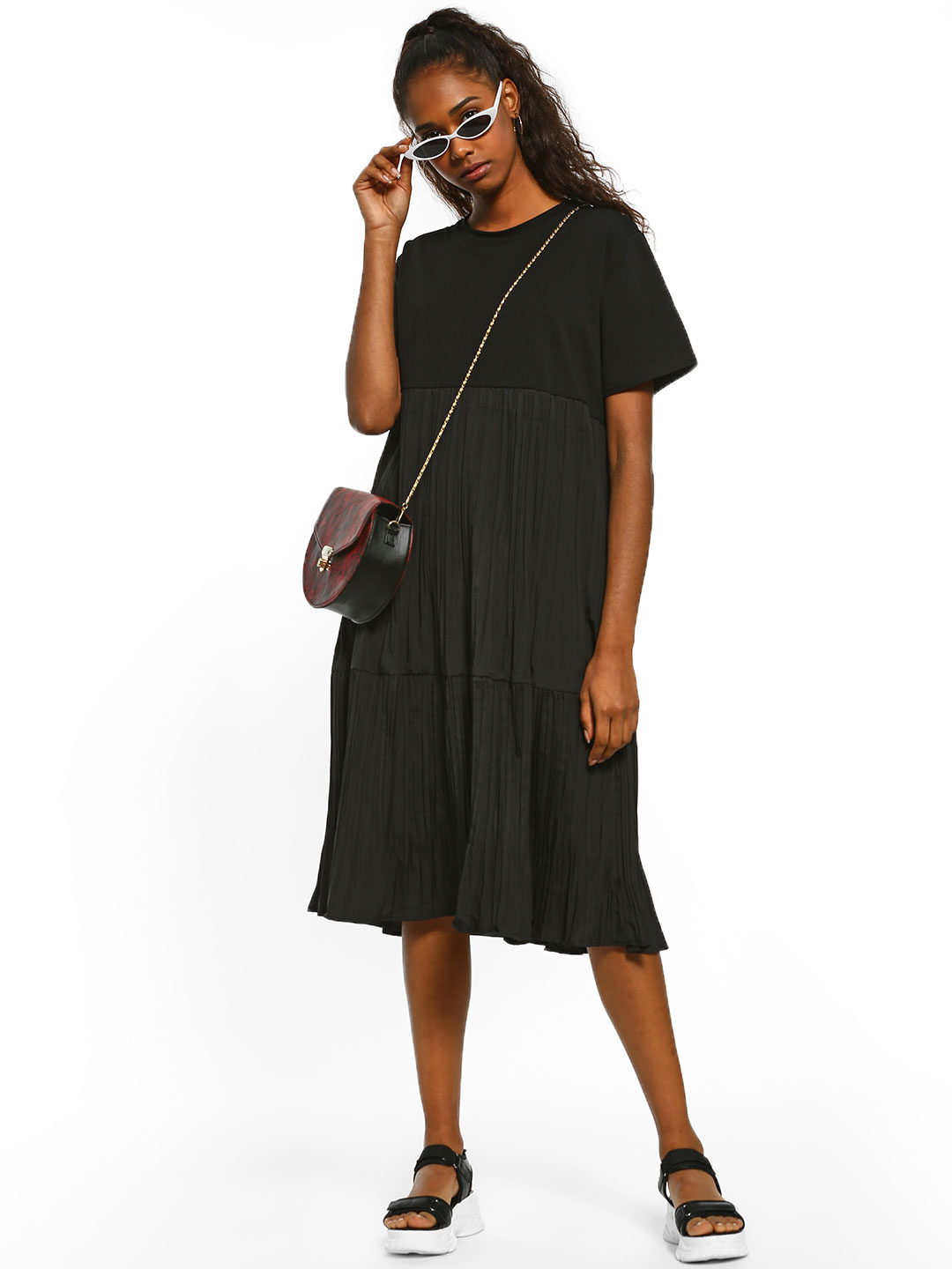 Origami Lily Black Twofer Pleated Midi Dress 1