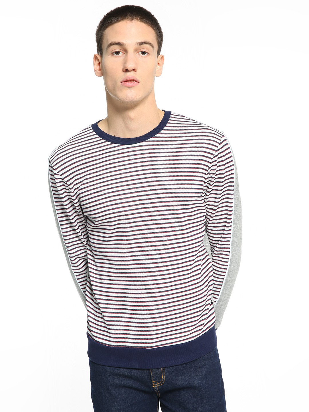 KOOVS Multi Front Horizontal Stripe Sweatshirt 1