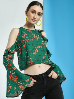 Street9 Floral Print Cold-Shoulder Crop Top