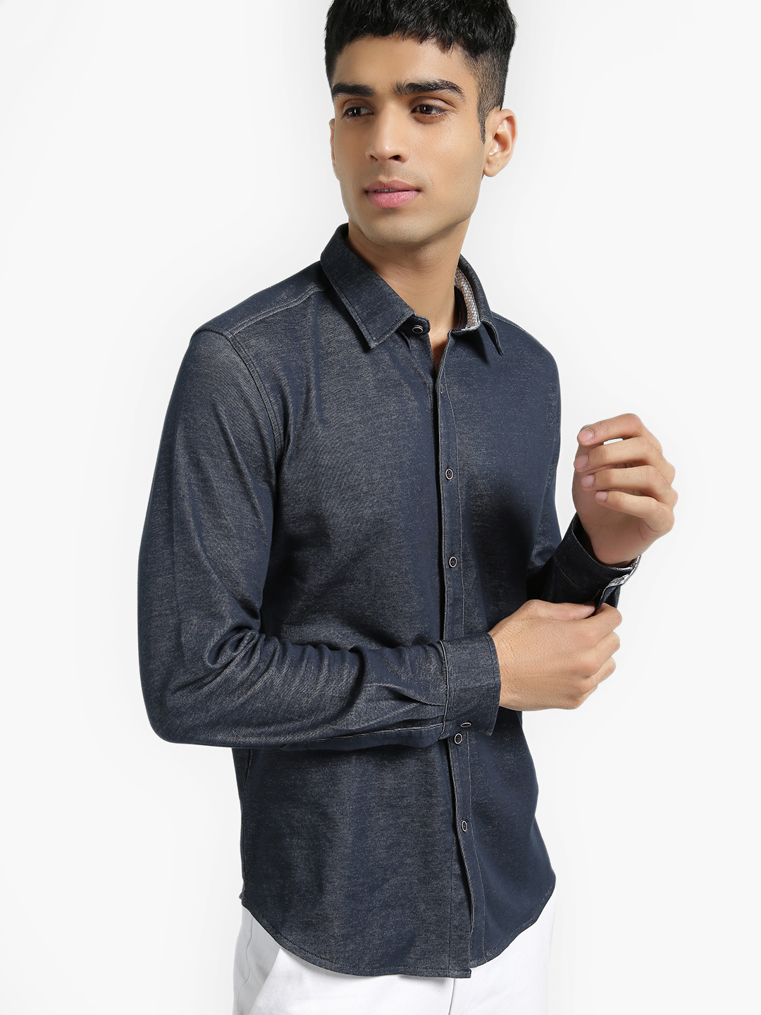 UMM Dark Blue Slim Fit Knitted Shirt 1