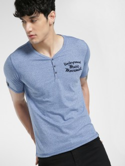 UMM Text Flock Print Henley T-Shirt