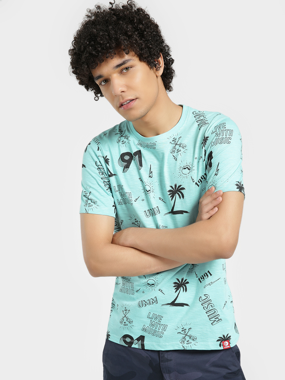 UMM Blue Tropical Island Print T-Shirt 1