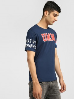 UMM Text Stripe Graphic Print T-Shirt