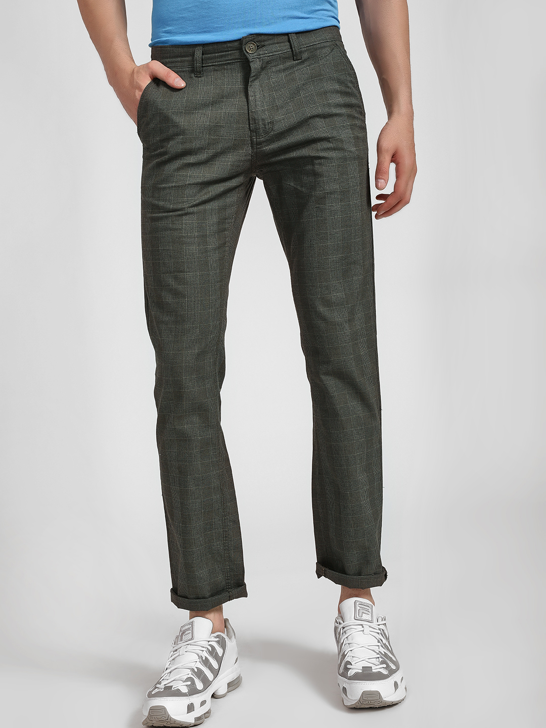 Buffalo Olive Glen Check Slim Trousers 1
