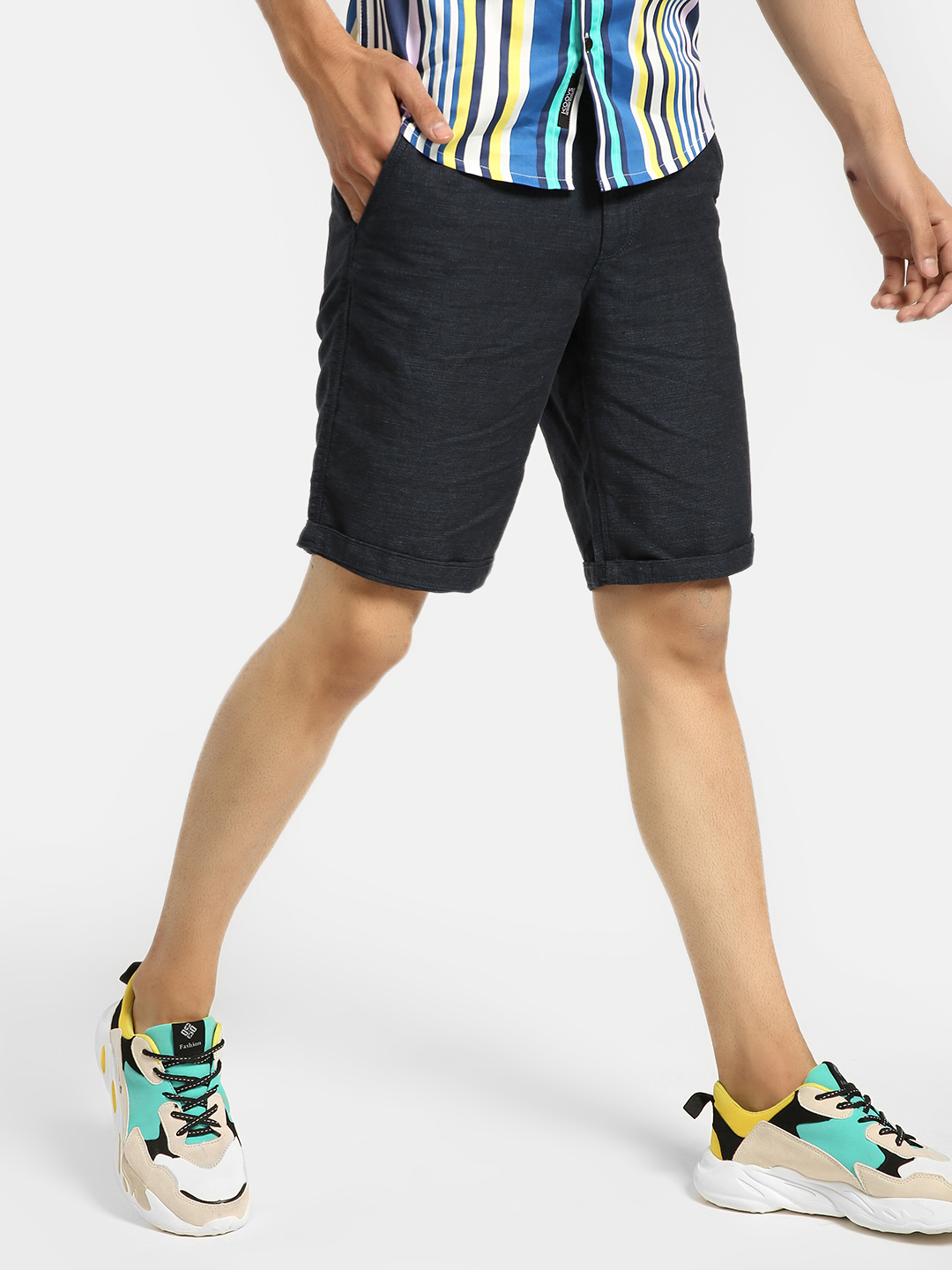 Buffalo Navy Woven Knee-Length Shorts 1