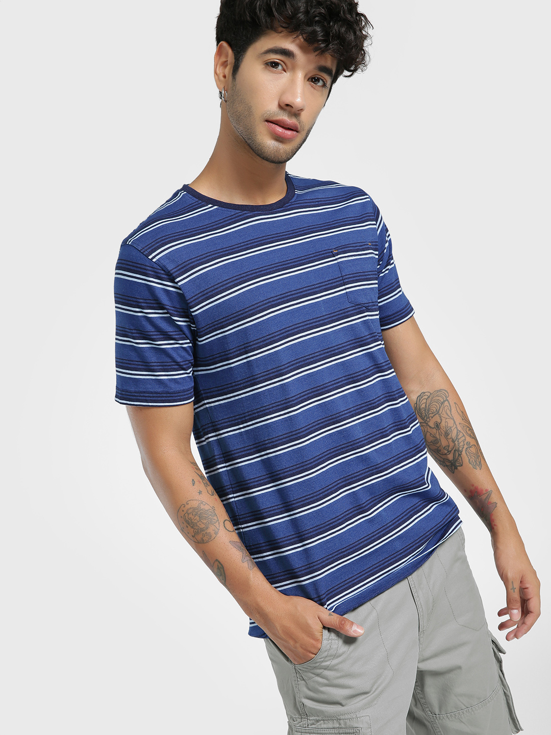 Buffalo Indigo Horizontal Stripe Pocket T-Shirt 1
