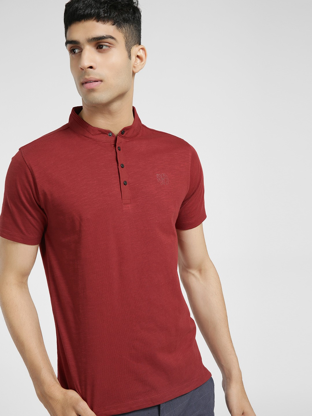Buffalo MINERAL RED Mandarin Collar Slim T-Shirt 1