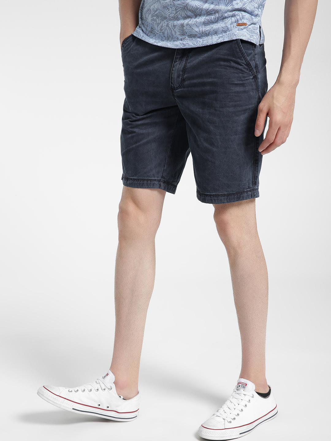 Buffalo Navy Acid Wash Shorts 1