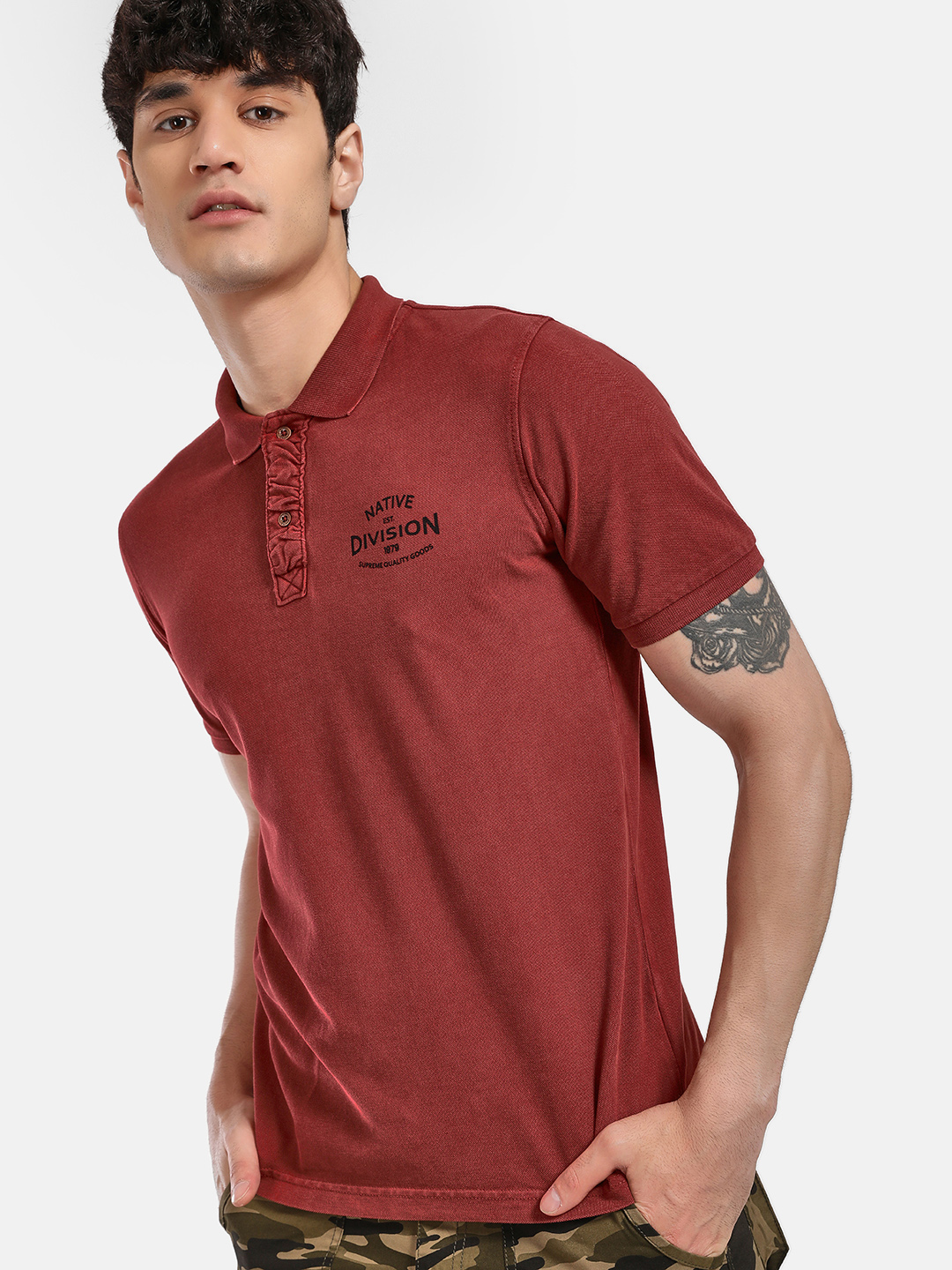 Buffalo MINERAL RED Text Placement Print Polo Shirt 1