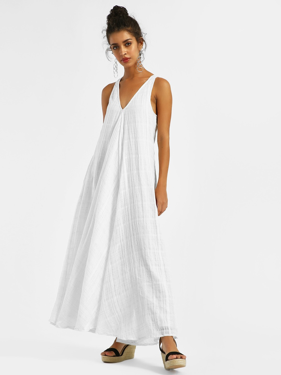 KOOVS White V-Neck Pocket Detail Maxi Dress 1