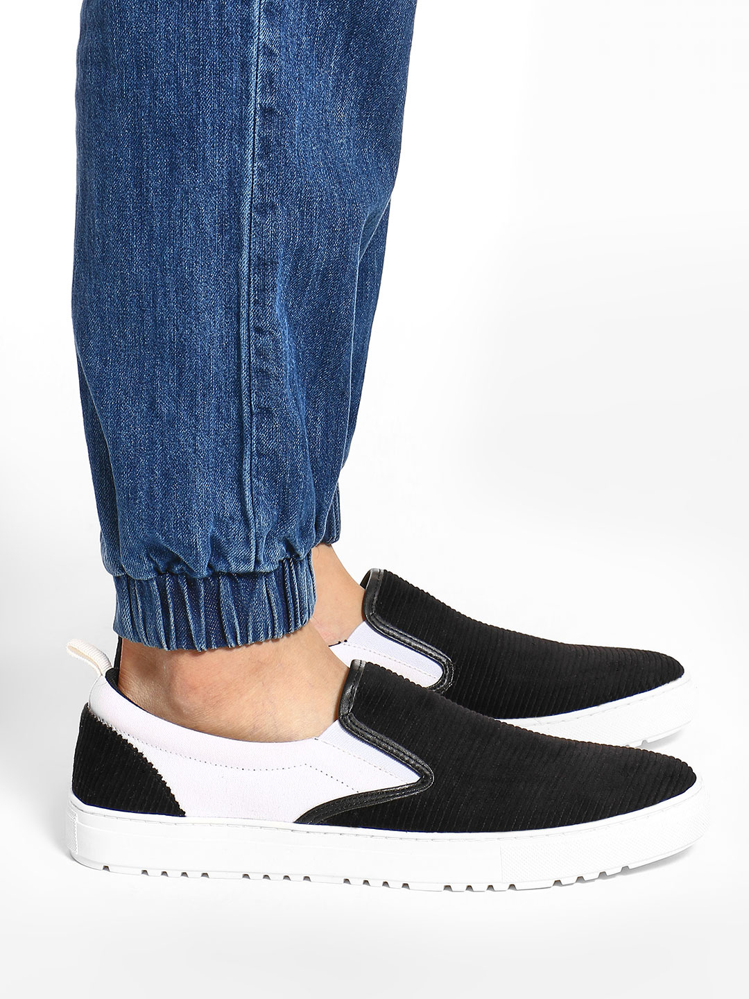 KOOVS Black Velour Panel Slip-On Shoes 1