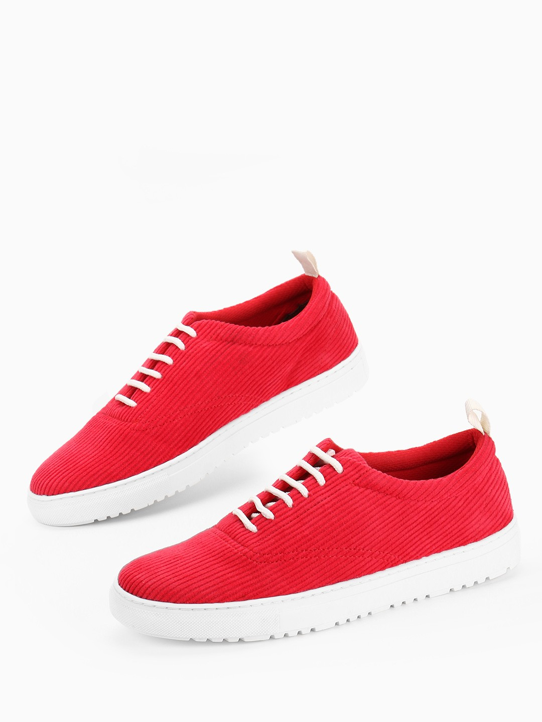 KOOVS Red Basic Corduroy Lace-Up Sneakers 1