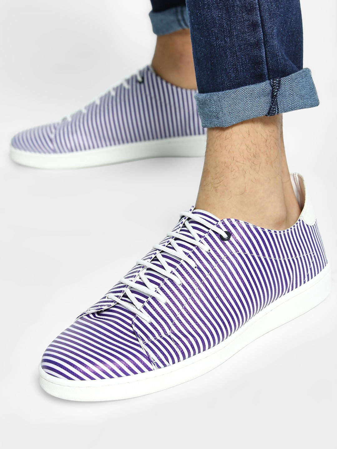 KOOVS Navy Striped Contrast Sole Sneakers 1