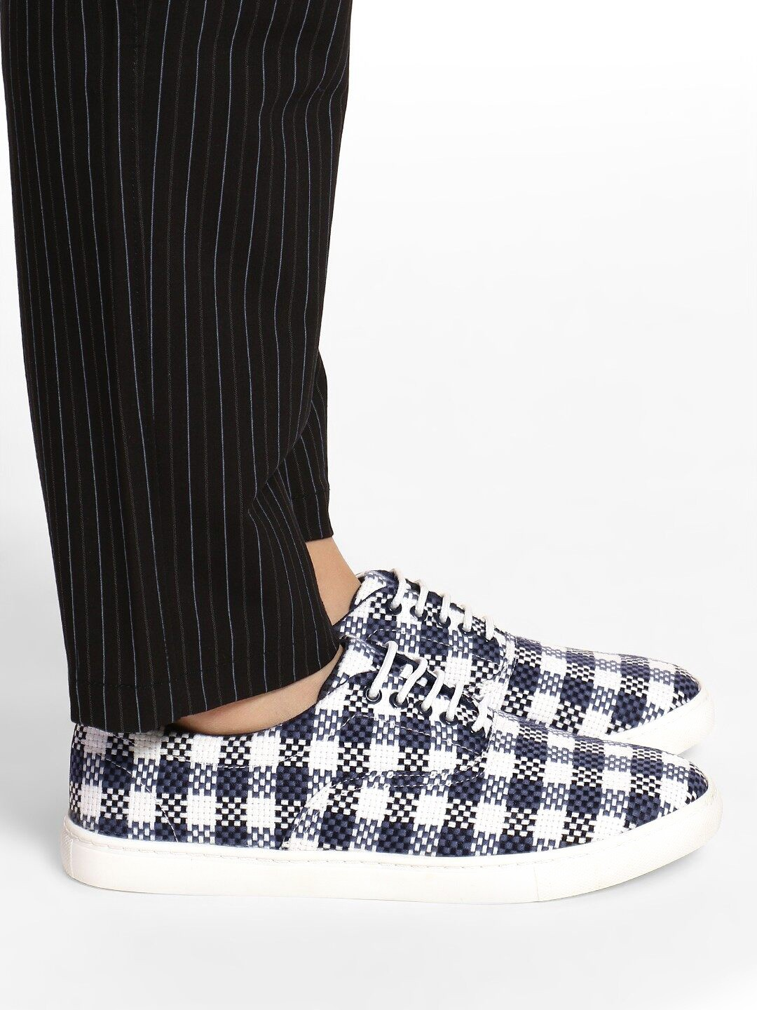 KOOVS Blue Checked Woven Lace-Up Sneakers 1