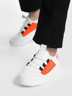 KOOVS Contrast Perforated Patch Sneakers